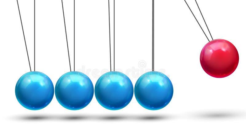 Vector del péndulo Péndulo clásico con las bolas de Metall Movimiento de la física Dirección del negocio Ilustración libre illustration
