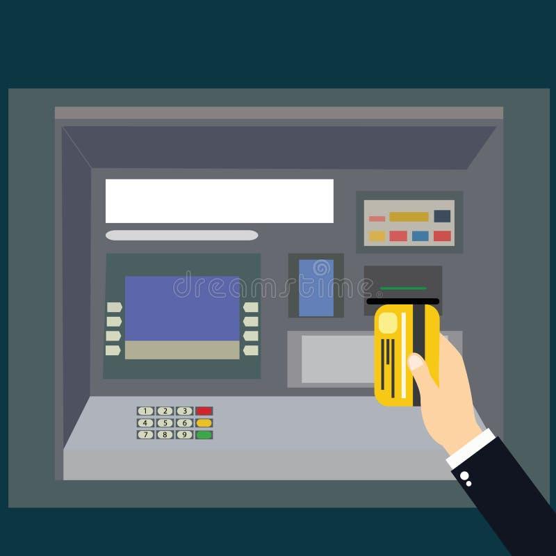 Vector del pago de la atmósfera Máquina de la atmósfera con la tarjeta de la mano y de crédito imagen de archivo libre de regalías