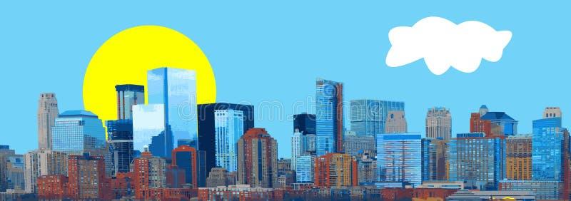 Vector del panorama de la bandera del horizonte de la ciudad libre illustration