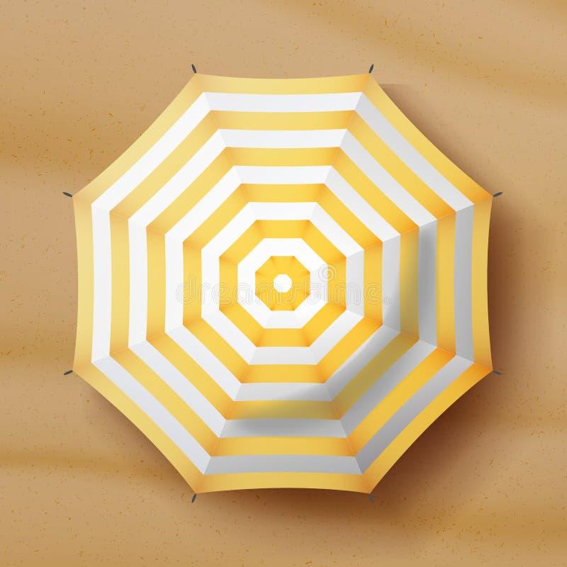 Vector del parasol de playa Icono realista del parasol Fondo de la arena Relaje el ejemplo ilustración del vector