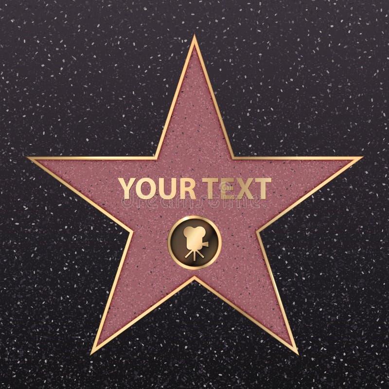 Vector del paseo de la fama de la celebridad de la estrella de Hollywood de oro stock de ilustración