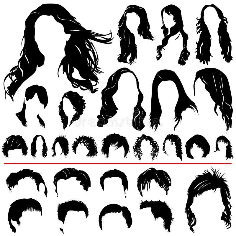 Vector del pelo de las mujeres y de los hombres ilustración del vector