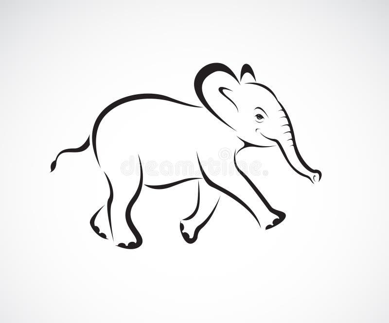 Vector del pequeño diseño del elefante en el fondo blanco Animales salvajes Logotipo o icono del elefante Vector acodado editable stock de ilustración