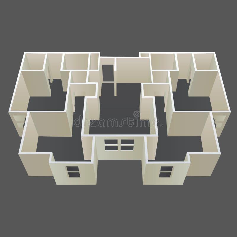 Vector del plan de la casa de la configuración ilustración del vector