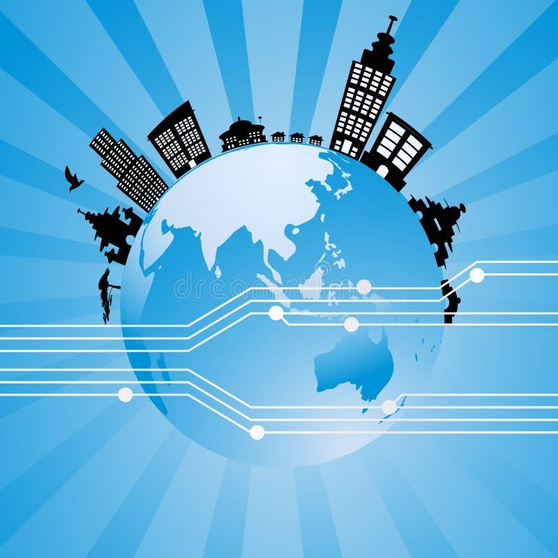 Vector del planeta de la tecnología stock de ilustración