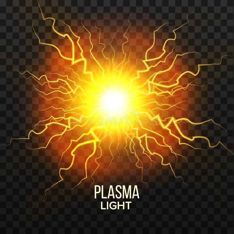 Vector del plasma de la bola de fuego efecto del relámpago Explosión mágica Esfera del voltaje Ejemplo transparente aislado reali ilustración del vector