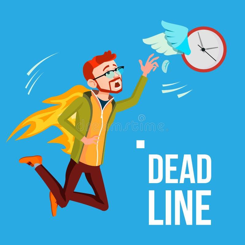 Vector del plazo Hombre de negocios In Fire Catching por las manos que vuelan el reloj con las alas Ilustración libre illustration