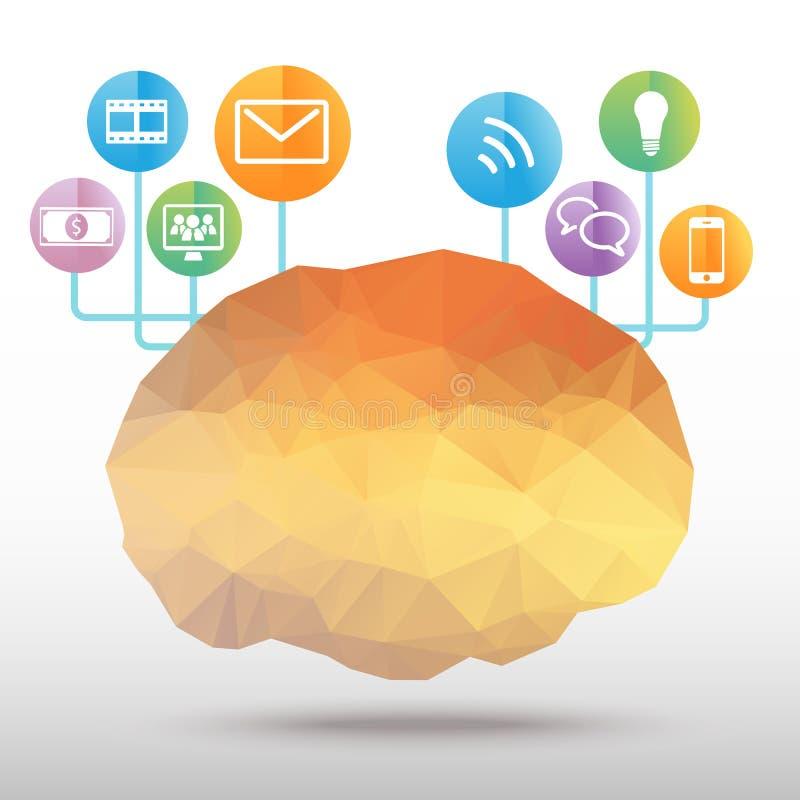 Vector del polígono del cerebro stock de ilustración