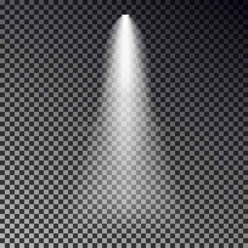 Vector del rayo ligero de la etapa Efecto transparente del proyector aislado sobre fondo oscuro Luz d del punto del brillo libre illustration