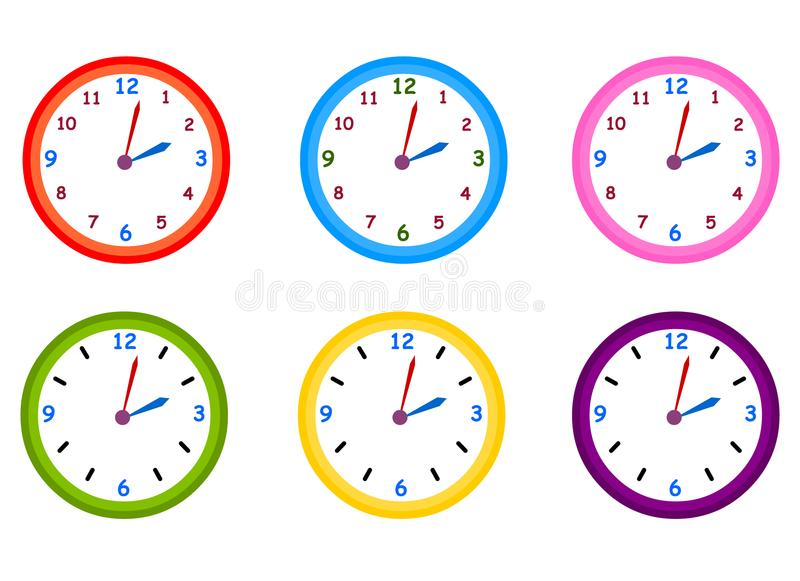 Vector del reloj Sistema del ejemplo del vector de los relojes stock de ilustración