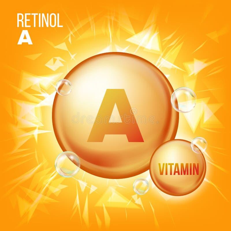 Vector del retinol de la vitamina A Icono de la píldora del aceite del oro de la vitamina Icono orgánico de la píldora del oro de stock de ilustración