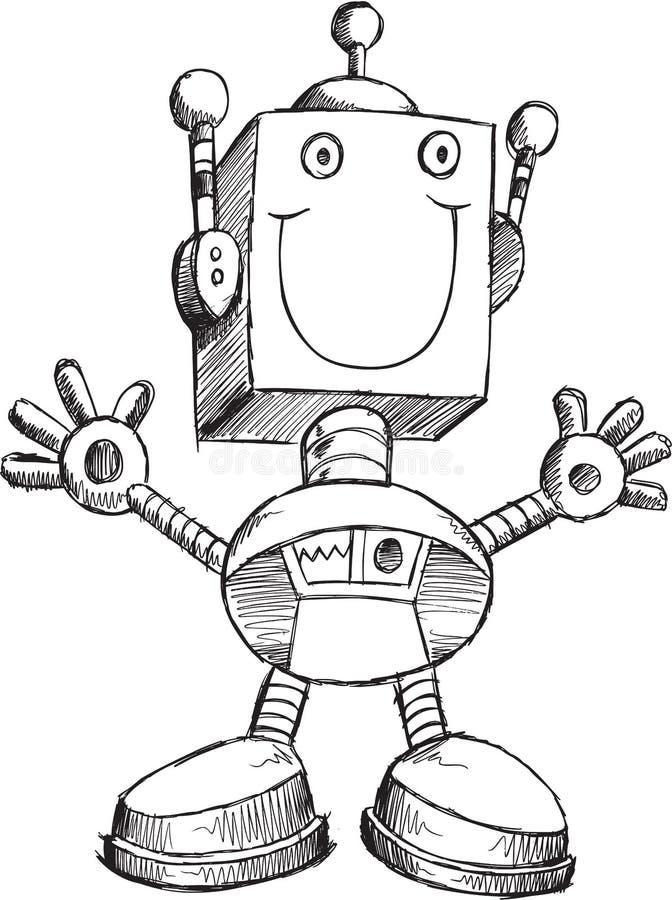 Vector del robot del garabato stock de ilustración
