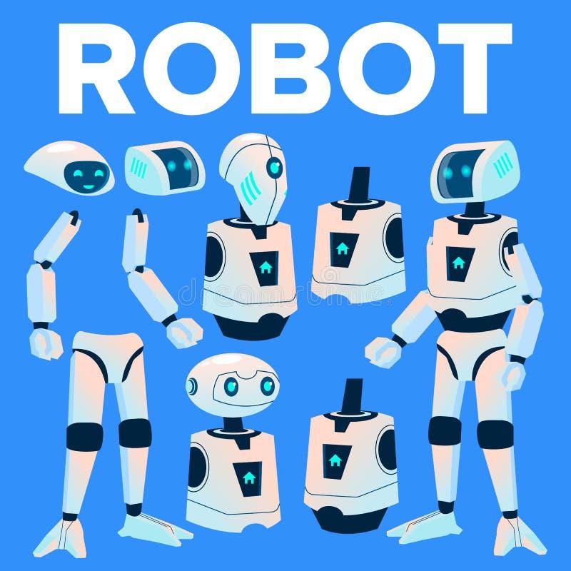 Vector del robot Sistema de la creación de la animación Ayudante moderno del robot La cabeza, cara, gesticula Inteligencia artifi stock de ilustración