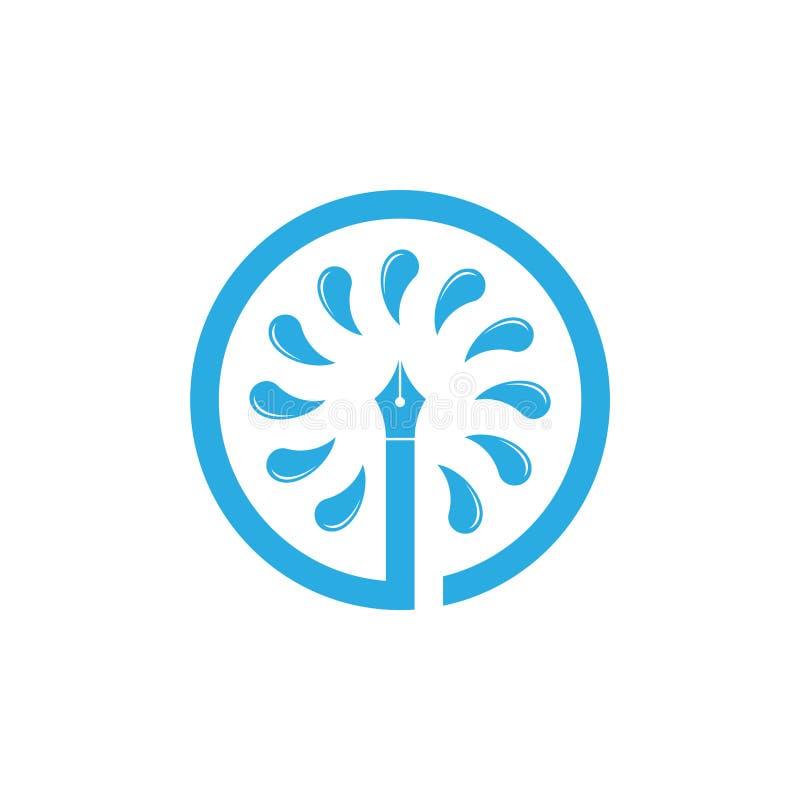 Vector del símbolo del color de agua de la herramienta de la pluma ilustración del vector