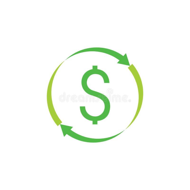 Vector del símbolo de las flechas del círculo del dólar del dinero stock de ilustración