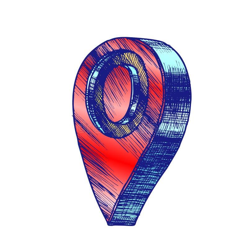 Vector del símbolo de ubicación de los Gps del indicador del mapa de la navegación del color libre illustration