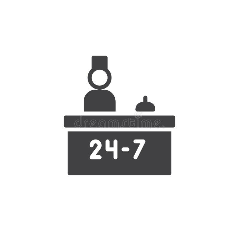 Vector del servicio de la recepción del hotel y del icono del recepcionista libre illustration