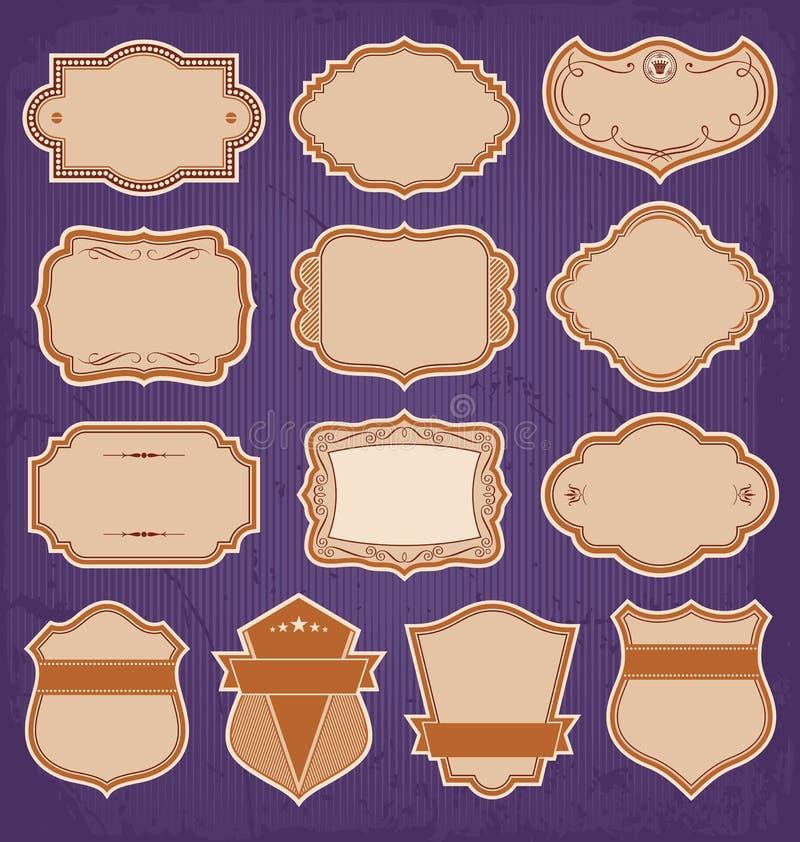 Vector del sistema de etiquetas del marco del vintage ilustración del vector