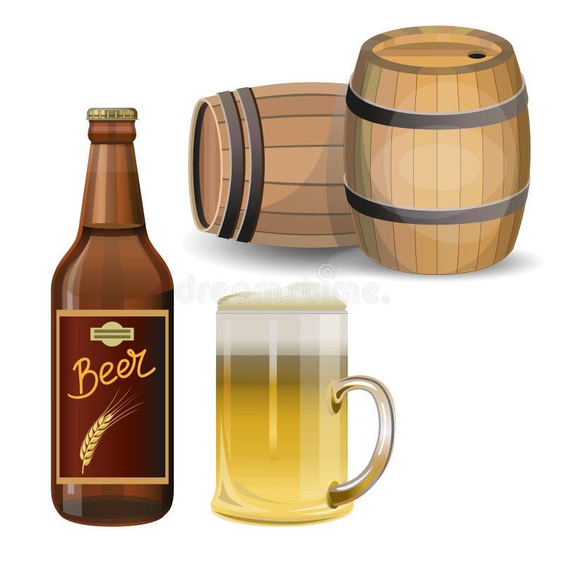 Vector del sistema de la cerveza stock de ilustración