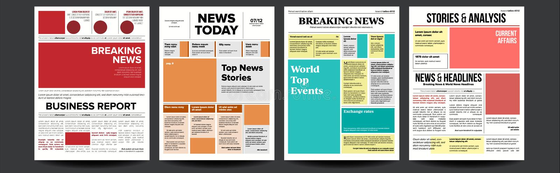 Vector del sistema de la cubierta del periódico Con el título, imágenes, artículos de la página Papel prensa, información del rep stock de ilustración