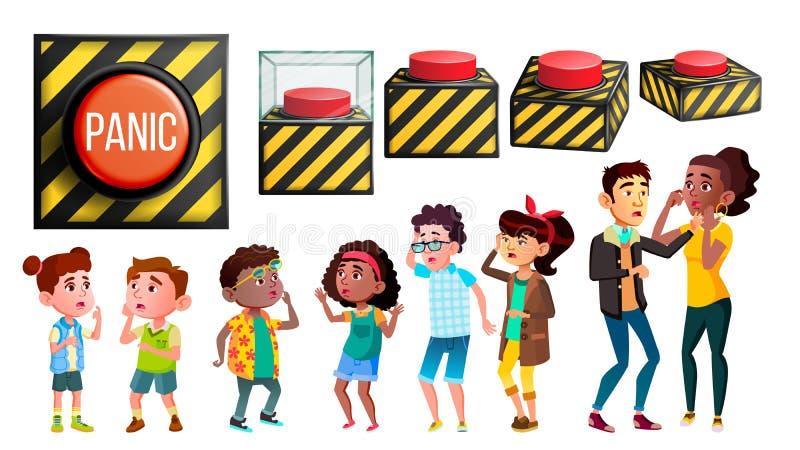 Vector del sistema de la gente de los caracteres del pánico y del botón rojo ilustración del vector