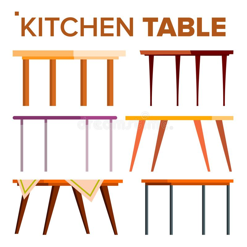 Vector del sistema de la tabla de cocina elemento del diseño interior Tabla de cena casera clásica Ejemplo aislado de la historie stock de ilustración