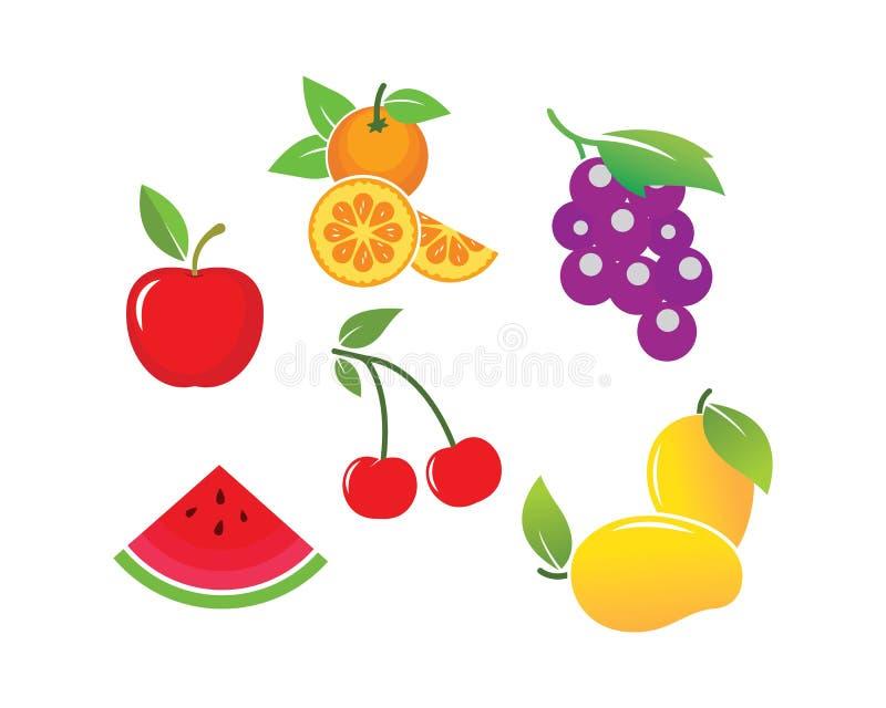 vector del sistema de las frutas, diseño del ejemplo del icono stock de ilustración