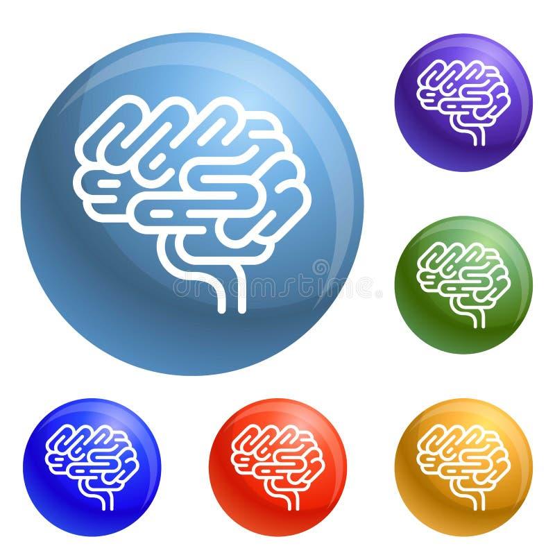 Vector del sistema de los iconos del órgano del cerebro stock de ilustración
