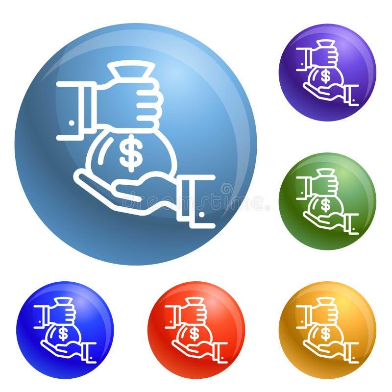 Vector del sistema de los iconos del bolso del dinero ilustración del vector
