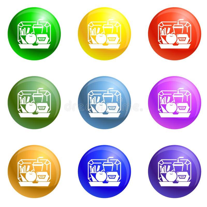 Vector del sistema de los iconos de la caja del almuerzo de la mezcla libre illustration