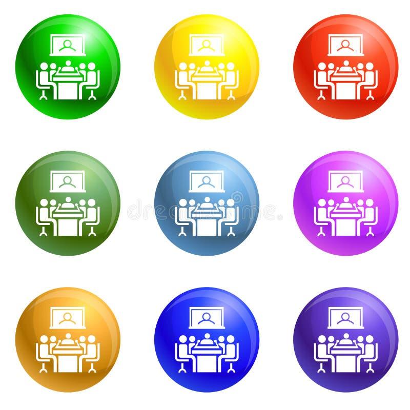 Vector del sistema de los iconos de la videoconferencia stock de ilustración
