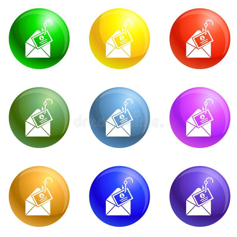 Vector del sistema de los iconos del phishing del correo libre illustration