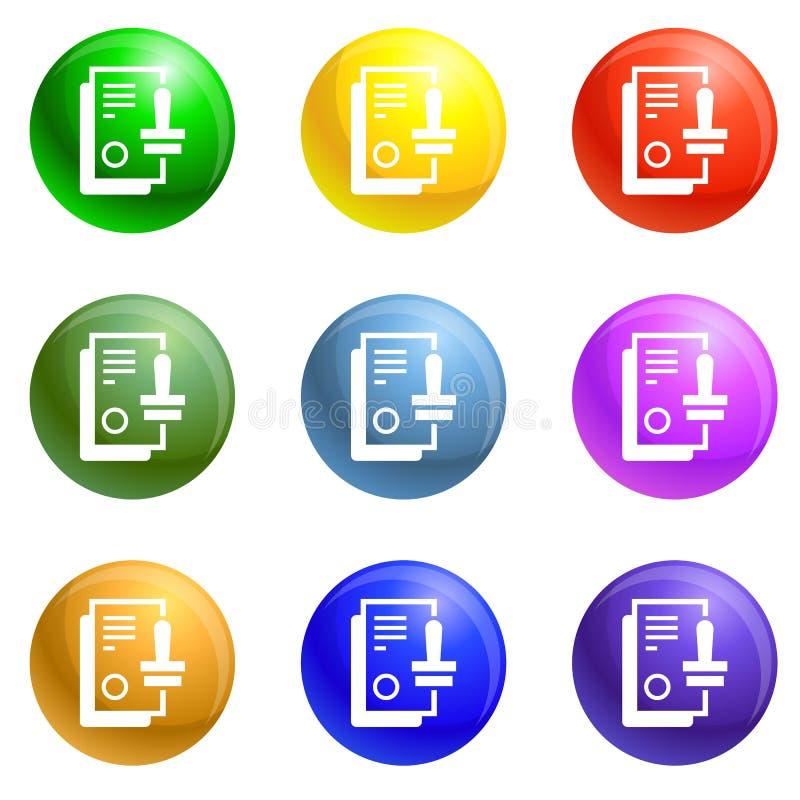Vector del sistema de los iconos del sello ilustración del vector