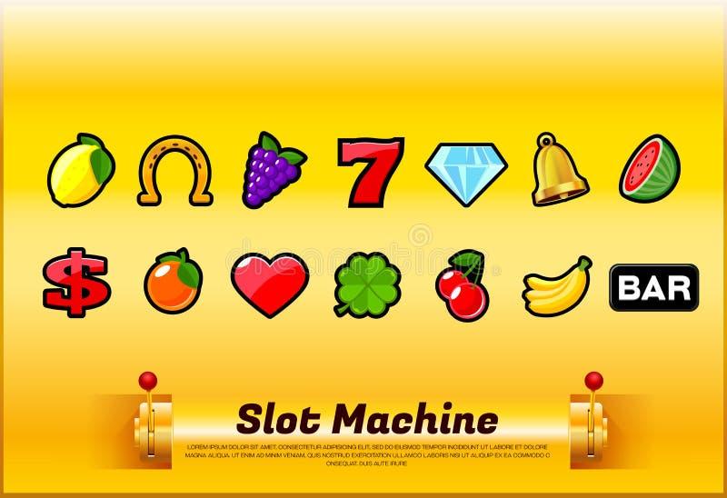 Vector del sistema de símbolos de la máquina tragaperras stock de ilustración