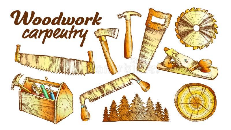 Vector del sistema del equipo de la colección de la carpintería de la artesanía en madera del color ilustración del vector