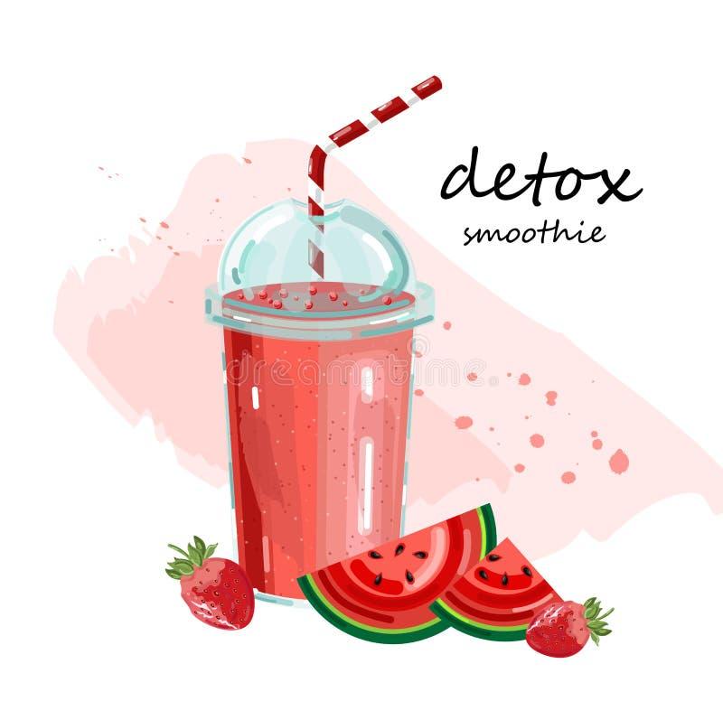 Vector del smoothie de la sandía del Detox El cóctel bebe las bebidas jugosas frescas del verano libre illustration