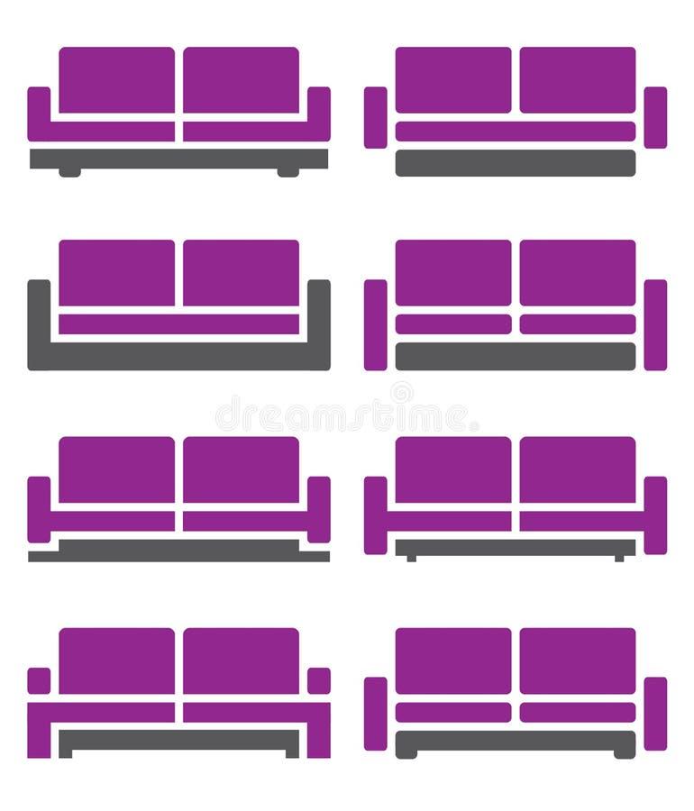 Vector del sofá y del sofá en el color violeta stock de ilustración