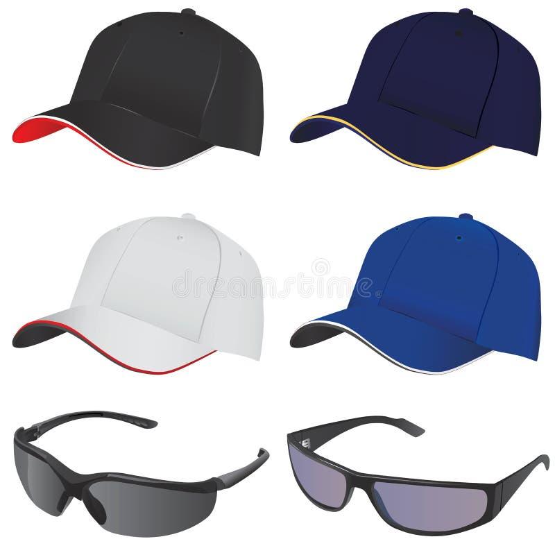 Vector del sombrero y de los vidrios stock de ilustración