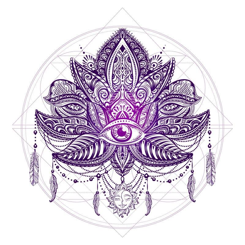 Vector del tatuaje de Lotos ilustración del vector