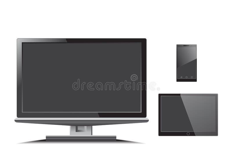 Vector del teléfono de la tableta de los monitores ilustración del vector