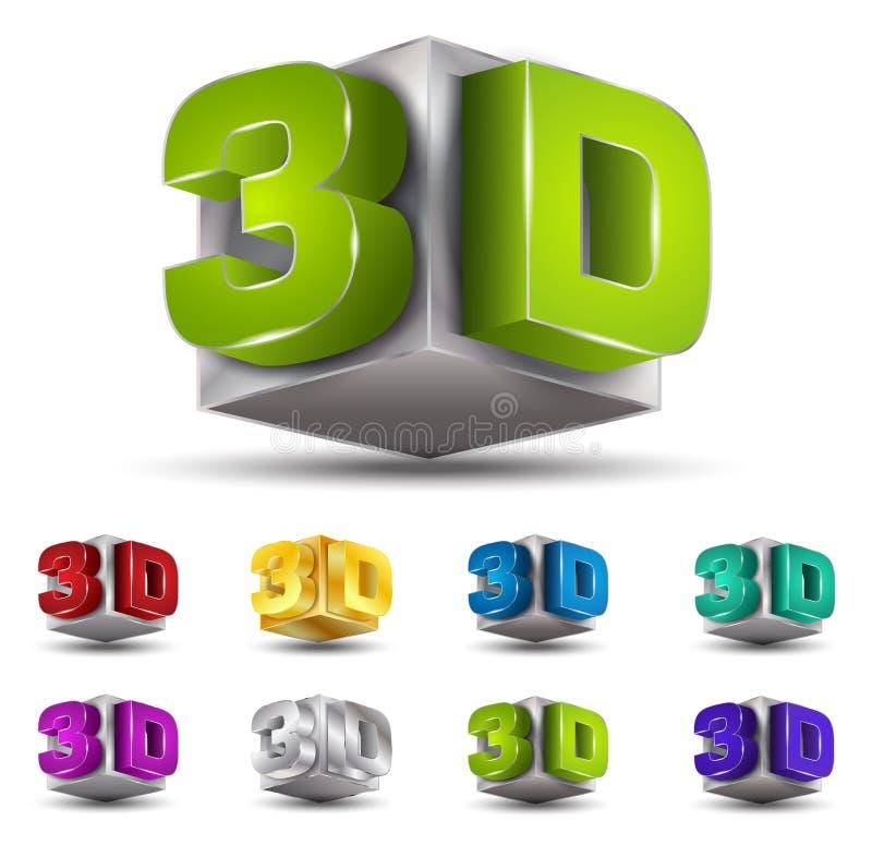 vector del texto 3D stock de ilustración