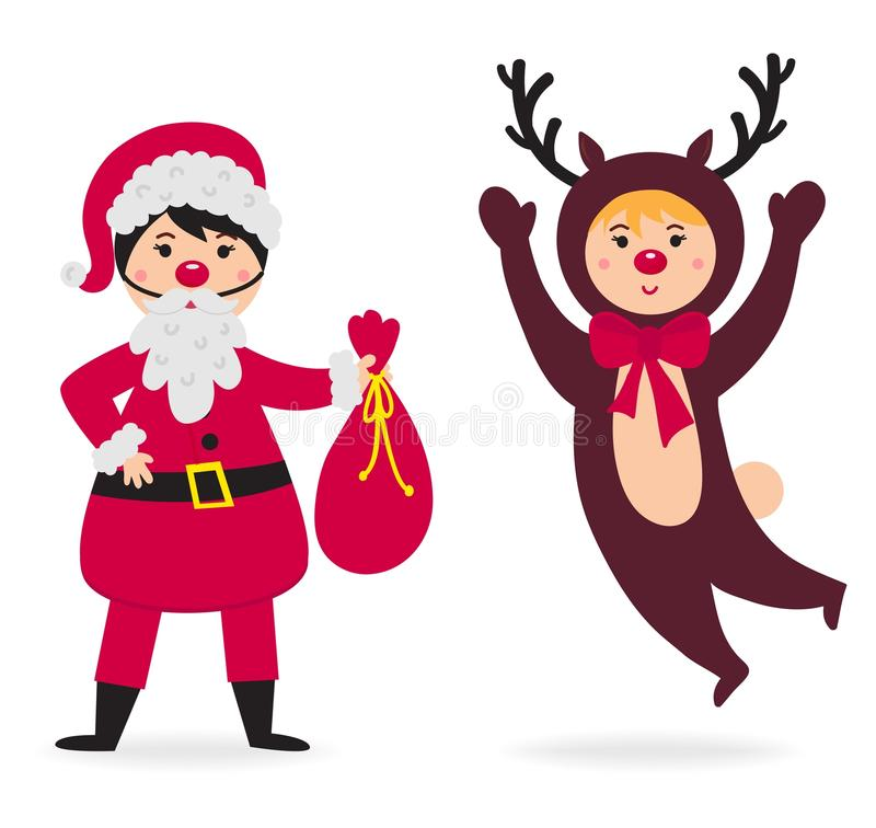 Vector del traje de la Navidad del niño que lleva lindo ilustración del vector