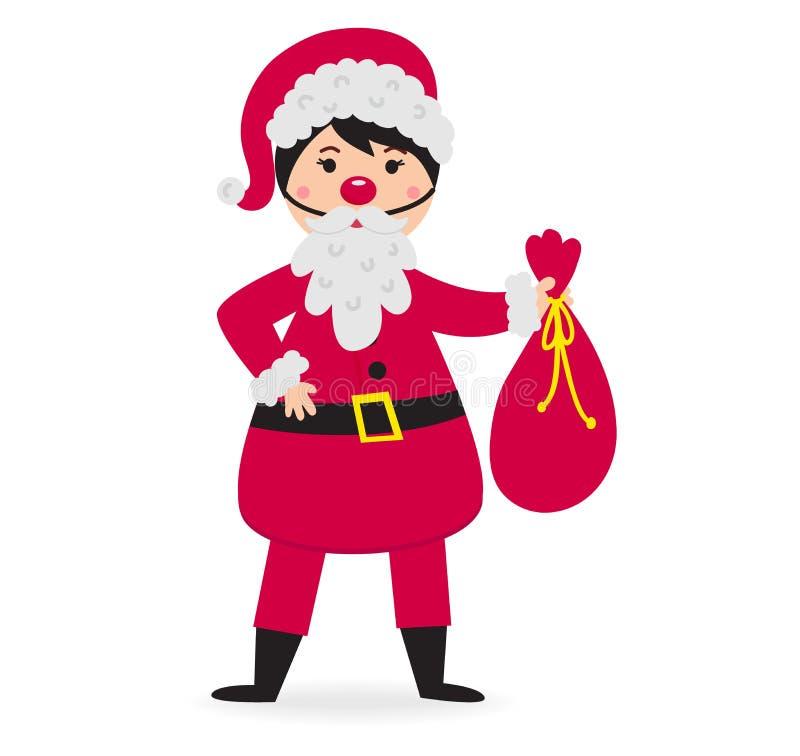 Vector del traje de la Navidad del niño que lleva lindo stock de ilustración
