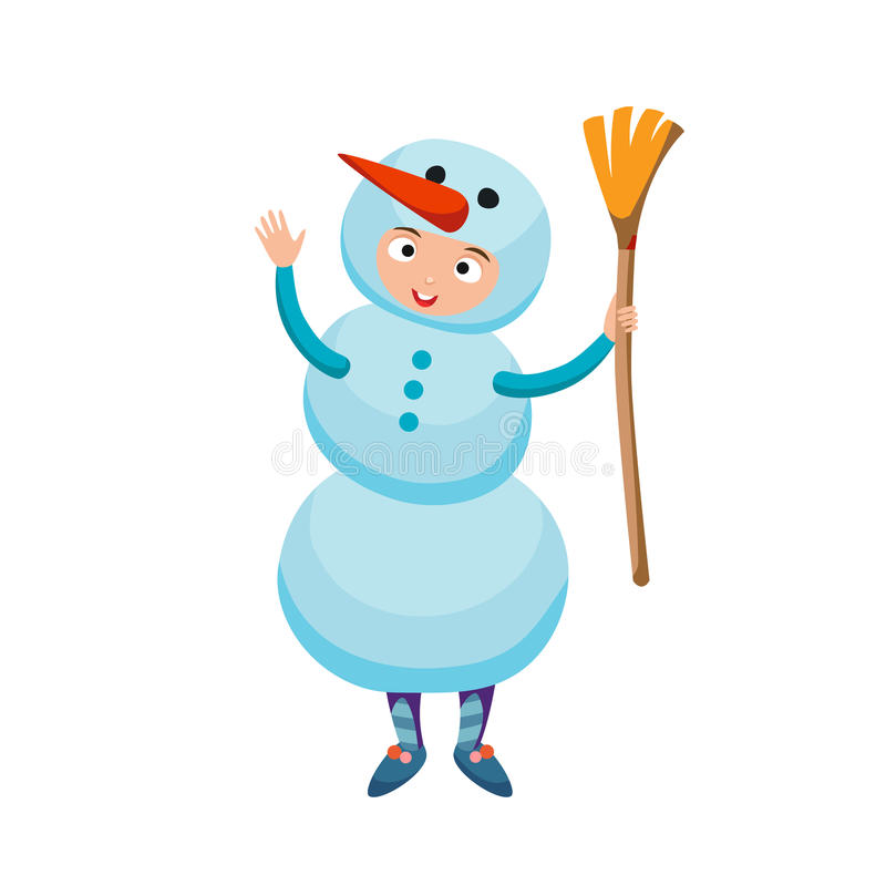 Vector del traje del muñeco de nieve de la Navidad del niño que lleva lindo libre illustration
