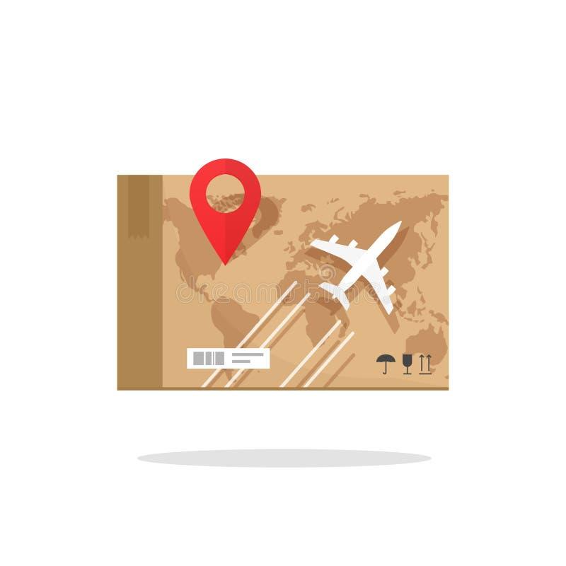 Vector del transporte del flete aéreo, servicio de entrega mundial de la caja plana del cargo ilustración del vector