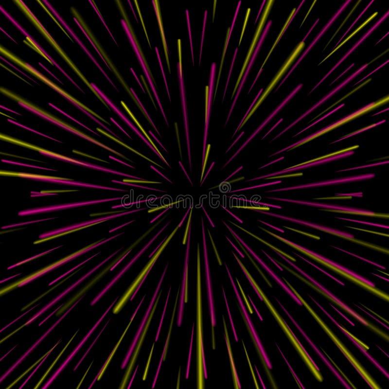 Vector del vórtice del espacio Fondo abstracto con la deformación de la estrella, la explosión de las estrellas o Hyperspace stock de ilustración