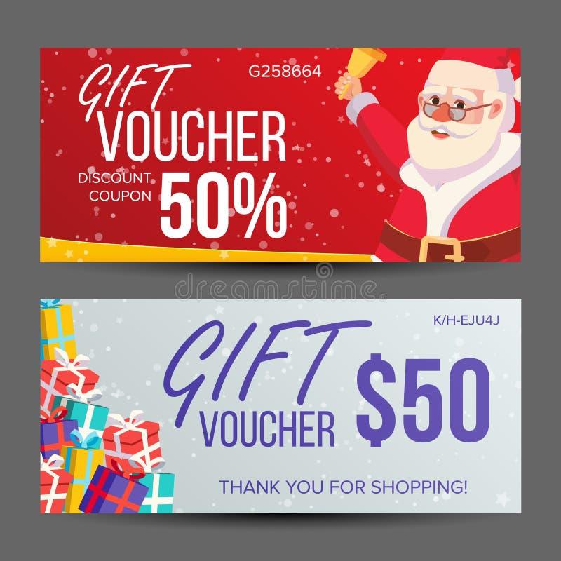 Vector del vale de la Navidad Bandera horizontal Feliz Navidad Papá Noel y regalos Extremo del anuncio del año lindo libre illustration