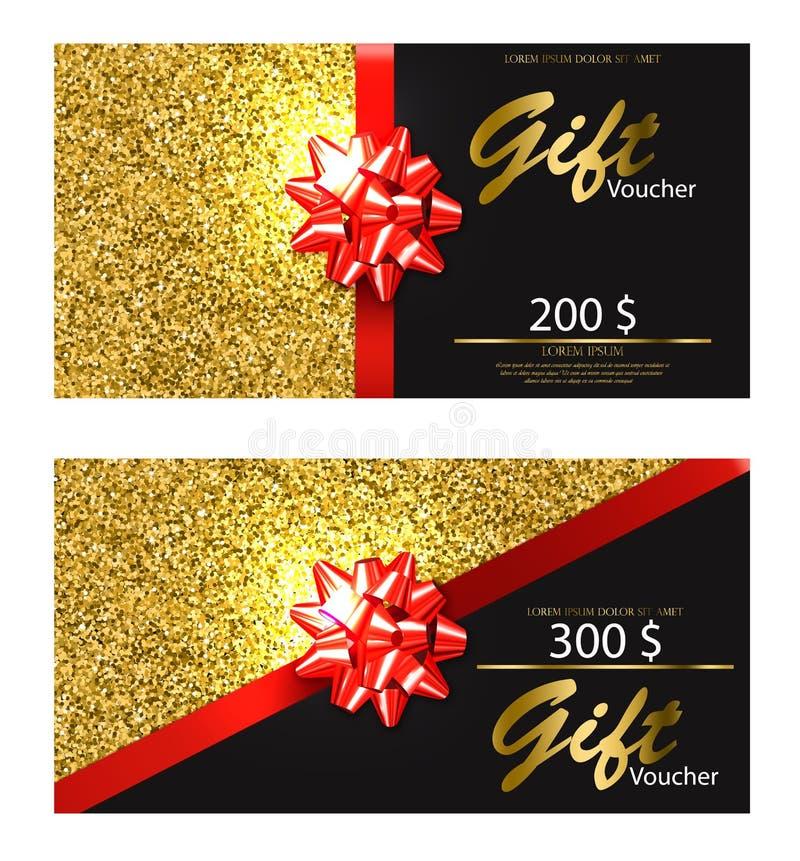 Vector del vale de regalo realista Tarjeta de oro del brillo con los ejemplos detallados 3d del arco rojo stock de ilustración