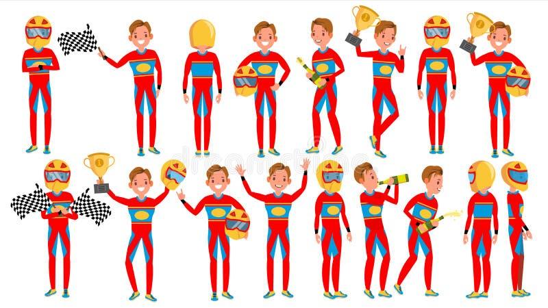 Vector del varón del hombre del corredor del coche deportivo Reunión de Turbo actitudes Conductor moderno Atleta Character Illust ilustración del vector