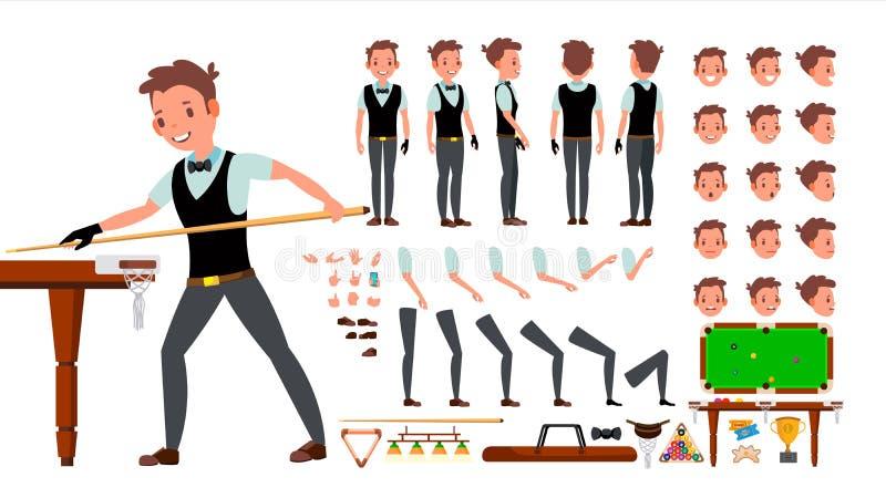 Vector del varón del jugador del billar sistema animado de la creación del carácter billiard Hombre integral, delantero, lado, vi ilustración del vector